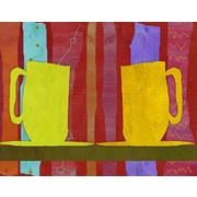 Green Leaf Art Coffee Cups 2 Painting Print on Wrapped Canvas