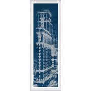 Green Leaf Art Times Square Postcard Blueprint Panel Framed Photographic Print