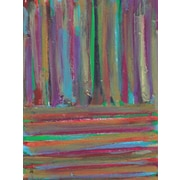 Green Leaf Art Stripes 4 Painting Print on Wrapped Canvas