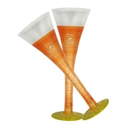 Golden Hill Studio Frosted Curl Flute Glass (Set of 2); Orange