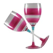 Golden Hill Studio Retro Stripe Wine Glass (Set of 2); Pink