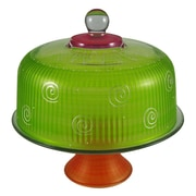 Golden Hill Studio Frosted Curl Cake Stand; Light Green