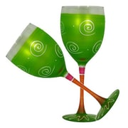 Golden Hill Studio Frosted Curl Wine Glass (Set of 2); Light Green