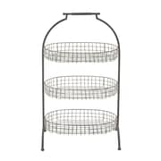 Woodland Imports Metal Basket with 3 Tier Tray