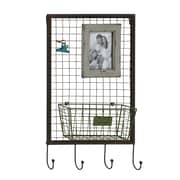 Woodland Imports Metal Wood Storage Hook Coat Rack; Gray
