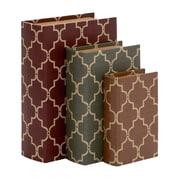 Woodland Imports 3 Piece Stylish and Antique Themed Wood Vinyl Book Box Set