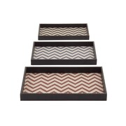 Woodland Imports 3 Piece Fashionable and Stunning Rectangular Tray Set