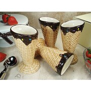 D'lusso Designs 4 Piece Design Ceramic Ice Cream Bowl Set