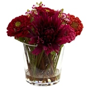 Nearly Natural 4847 Mixed Zinnia Arrangement with Decorative Glass Vase 9