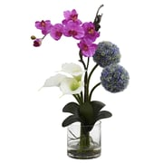 Nearly Natural 1334 Orchid & Ball flower Arrangement 26 x 15 inch Multi Color
