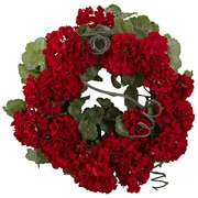 Nearly Natural 4986 Geranium Wreath Red