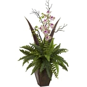 Nearly Natural 1365 Fern & Orchid Arrangement 36 x 20 inch Green & White