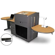 "Marvel® 133"" Teacher's Desk With Lectern & Handheld Mic, Steel, Oak/Dark Neutral"