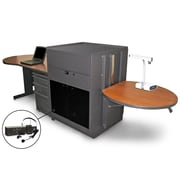 "Marvel® 133"" Teacher's Desk With Acrylic Door & Headset Mic, Steel, Cherry/Dark Neutral"