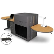 "Marvel® 133"" Teacher's Desk With Acrylic Door & Headset Mic, Steel, Oak/Dark Neutral"