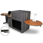 "Marvel® 133"" Teacher's Desk With Acrylic Door & Handheld Mic, Steel, Cherry/Dark Neutral"