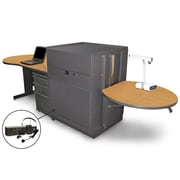 "Marvel® 133"" Teacher's Desk With Metal Door & Headset Mic, Steel, Oak/Dark Neutral"