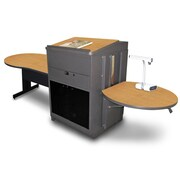 "Marvel® 78"" Keyhole Table With Media Center, Lectern & Acrylic Doors, Steel, Oak/Dark Neutral"