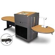 "Marvel® 78"" Keyhole Table With Lectern, Acrylic Doors & Headset Mic, Steel, Oak/Dark Neutral"