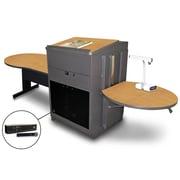 "Marvel® 78"" Keyhole Table With Lectern, Acrylic Doors & Handheld Mic, Steel, Oak/Dark Neutral"