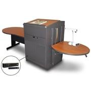 "Marvel® 78"" Keyhole Table With Lectern, Doors & Handheld Mic, Steel, Cherry/Dark Neutral"