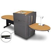 """Marvel® 78"""" Keyhole Table With Lectern, Doors & Handheld Mic, Steel, Oak/Dark Neutral"""