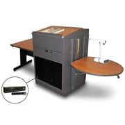 "Marvel® 66"" Rectangular Table With Lectern, Acrylic Door & Handheld Mic, Steel, Cherry/Dark Neutral"