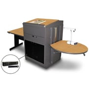 "Marvel® 66"" Rectangular Table With Lectern, Acrylic Door & Handheld Mic, Steel, Oak/Dark Neutral"
