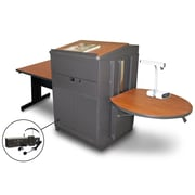"Marvel® 66"" Rectangular Table With Lectern, Metal Door & Headset Mic, Steel, Cherry/Dark Neutral"