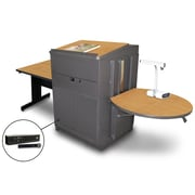 "Marvel® 66"" Rectangular Table With Lectern, Metal Door & Handheld Mic, Steel, Oak/Dark Neutral"
