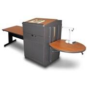 "Marvel® 78"" Rectangular Table With Media Center, Lectern & Doors, Steel, Cherry/Dark Neutral"