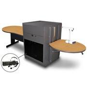 "Marvel® 78"" Keyhole Table With Media Center, Acrylic Doors & Headset Mic, Steel, Oak/Dark Neutral"