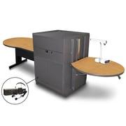 "Marvel® 78"" Keyhole Table With Media Center, Doors & Headset Mic, Steel, Oak/Dark Neutral"
