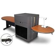"Marvel® 78"" Peninsula Table With Acrylic Doors & Headset Mic, Steel, Cherry/Dark Neutral"