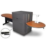 "Marvel® 78"" Peninsula Table With Media Center, Doors & Handheld Mic, Steel, Cherry/Dark Neutral"