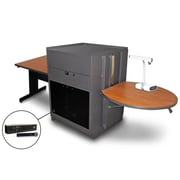 "Marvel® 66"" Rectangular Table With Acrylic Door & Handheld Mic, Steel, Cherry/Dark Neutral"