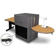 "Marvel® 66"" Rectangular Table With Acrylic Door & Headset Mic, Steel, Oak/Dark Neutral"