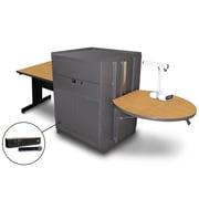 """Marvel® 66"""" Rectangular Table With Metal Door & Handheld Mic, Steel, Oak/Dark Neutral"""