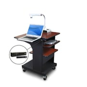 "Marvel® 24"" Presentation Cart With Laptop & Tilting Shelf & Mic, Steel, Cherry/Dark Neutral"