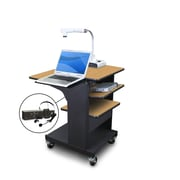 "Marvel® 24"" Presentation Cart W/Laptop & Tilting Shelf & Headset Mic, Steel, Oak/Dark Neutral"