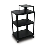"Marvel® 24"" Adjustable Height A/V Cart With Expansion Shelf & Electrical Unit, Steel, Black"