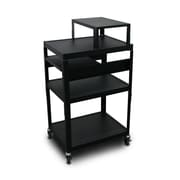 "Marvel® 24"" Adjustable Height A/V Cart With 1 Pull-Out Front-Shelf & Expansion Shelf, Steel, Black"