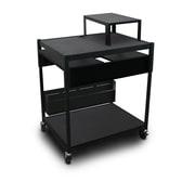 "Marvel® 32"" Adjustable Media Projector Cart With 2 Pull-Out Side-Shelves, Steel, Black"