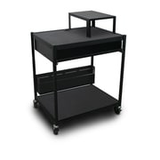 "Marvel® 32"" Media Projector Cart With 1 Pull-Out Front-Shelf, Bin & Expansion Shelf, Steel, Black"