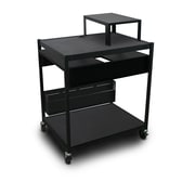 "Marvel® 32"" Media Projector Cart With 2 Pull-Out Side-Shelves, Bin & Expansion Shelf, Steel, Black"