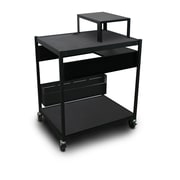 "Marvel® 32"" Media Projector Cart With 1 Pull-Out Side-Shelf, Bin & Expansion Shelf, Steel, Black"