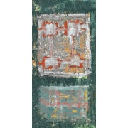 Green Leaf Art Circles on squares 1 Painting Print on Wrapped Canvas