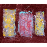 Green Leaf Art Columns and Flowers 2 Painting Print on Wrapped Canvas