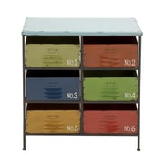 Woodland Imports Colorful Metal Wood Storage Chest