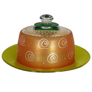 Golden Hill Studio Frosted Curl Cheese Cake Stand; Orange